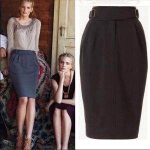 anthro Maeve Black Cinched Ponte Pencil Skirt
